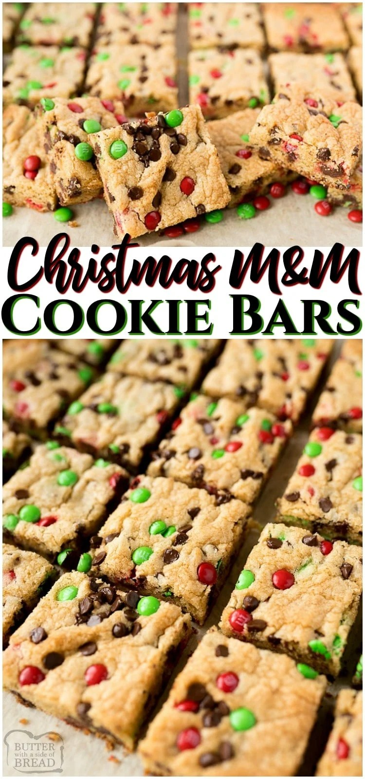 Christmas M&M Cookie Bars are a soft and tender chocolate chip cookie bar with festive green and red mini M&M's included! The soft and chewy Christmas cookie bar will be the star of the party!