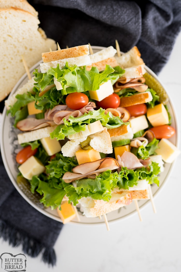 sandwich on a skewer served