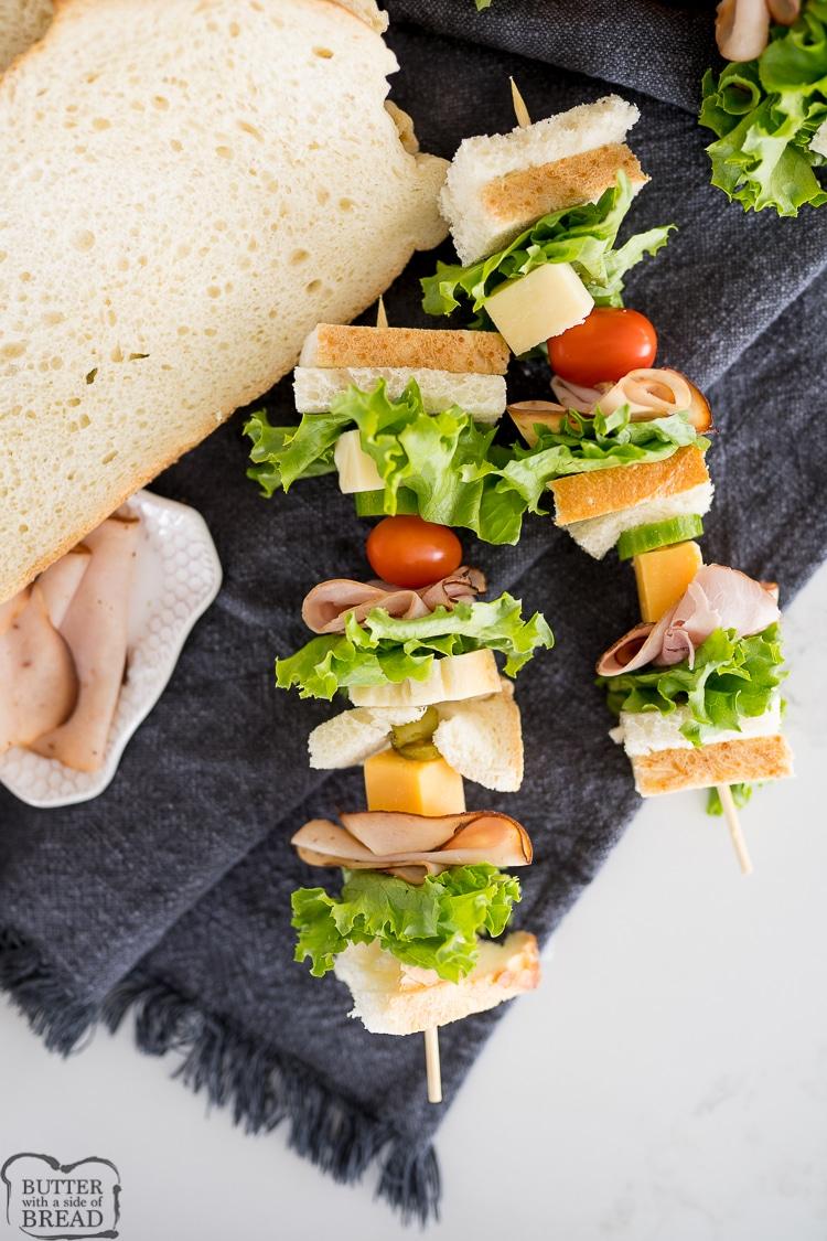 sandwich on an appetizer skewer