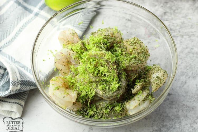 shrimp with lime zest