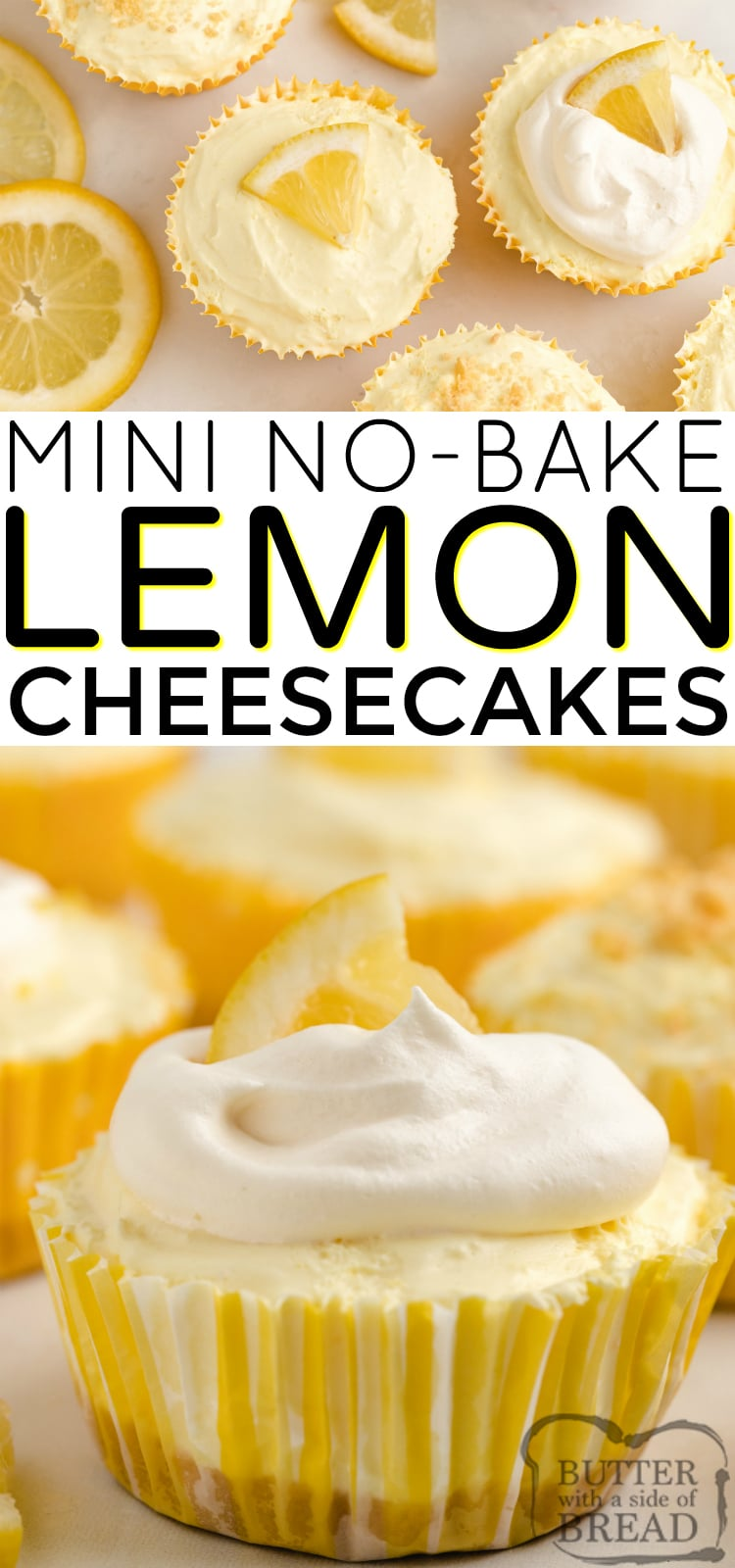 No Bake Mini Lemon Cheesecakes made with Lemon Oreos and lemon pudding are delicious! This easy no bake cheesecake recipe made with only 6 ingredients is the perfect summer dessert!