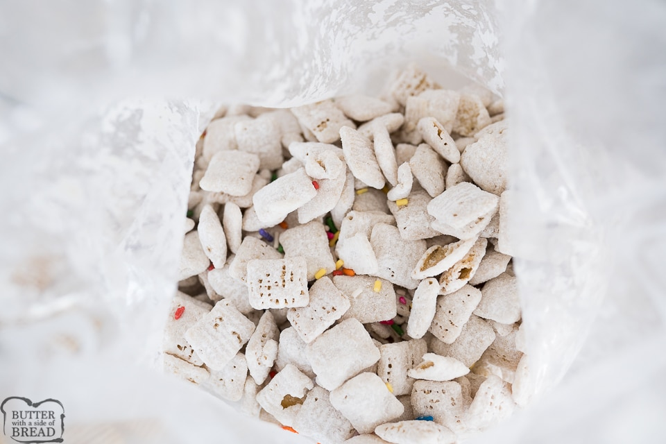 funfetti Chex mix in a zip top bag