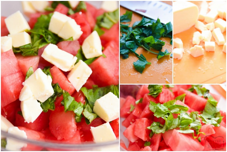 How to make Watermelon salad with basil