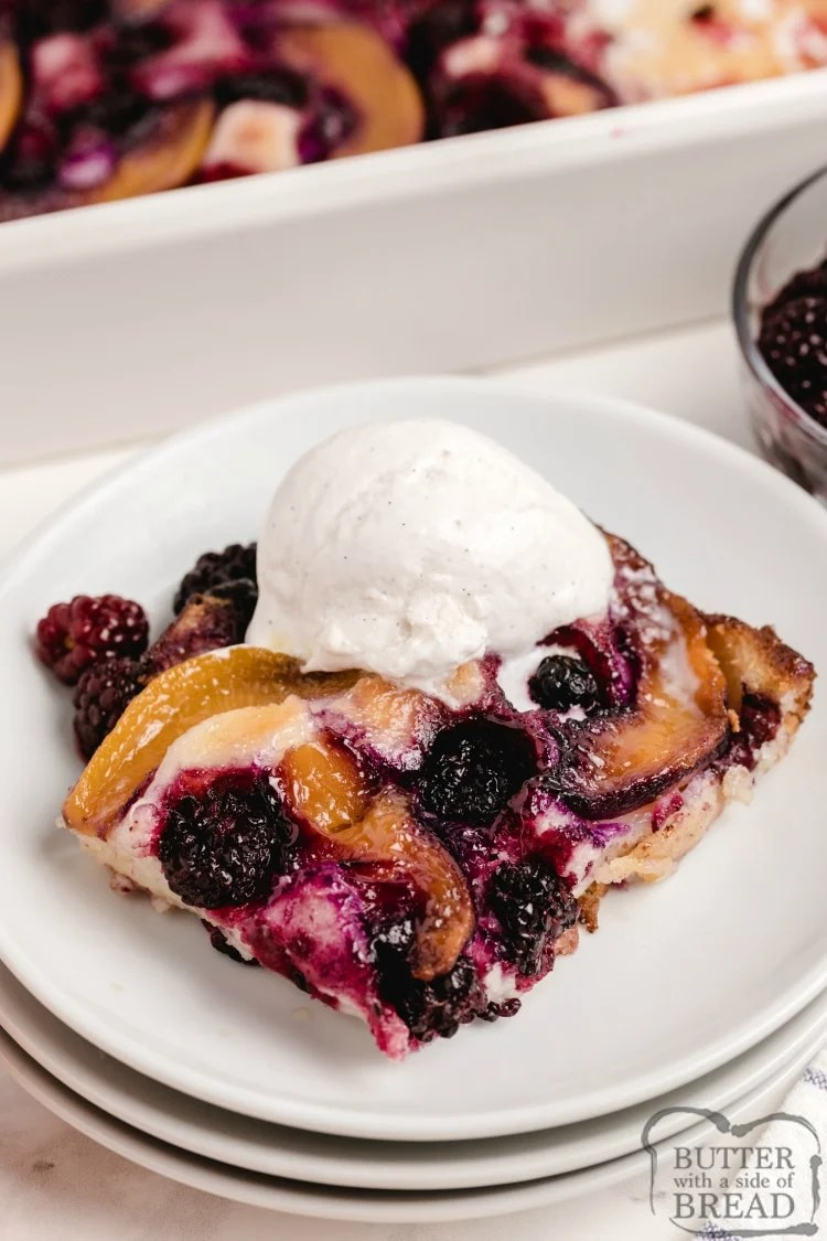 Peach cobbler made with peaches and blackberries