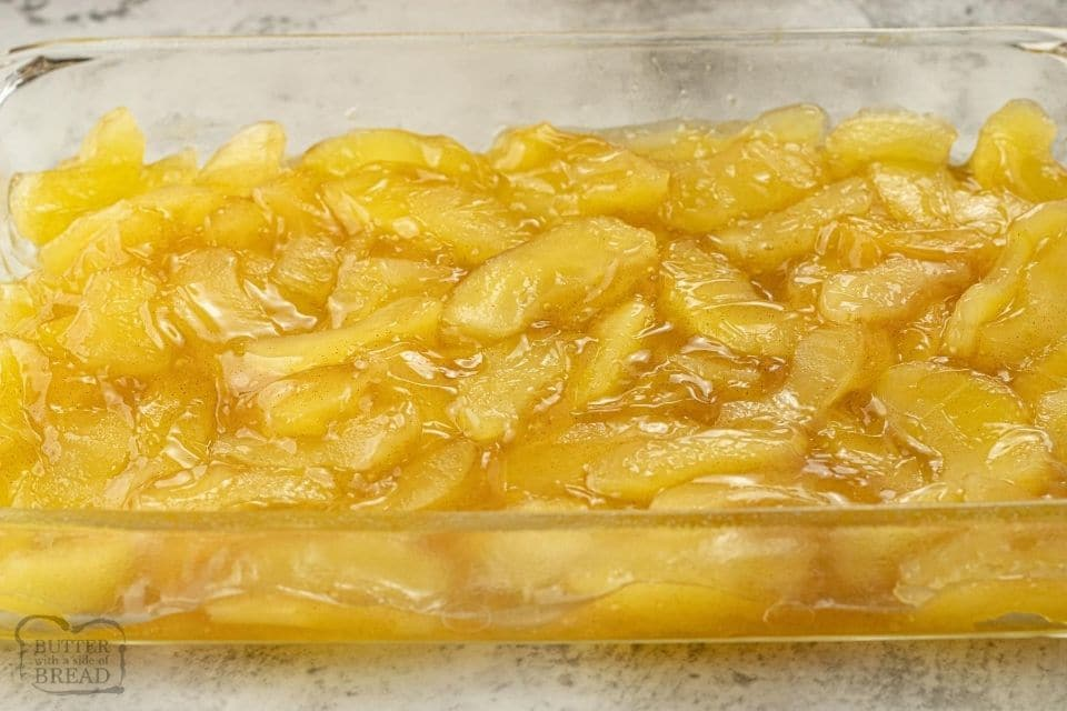 apple pie filling in a baking dish
