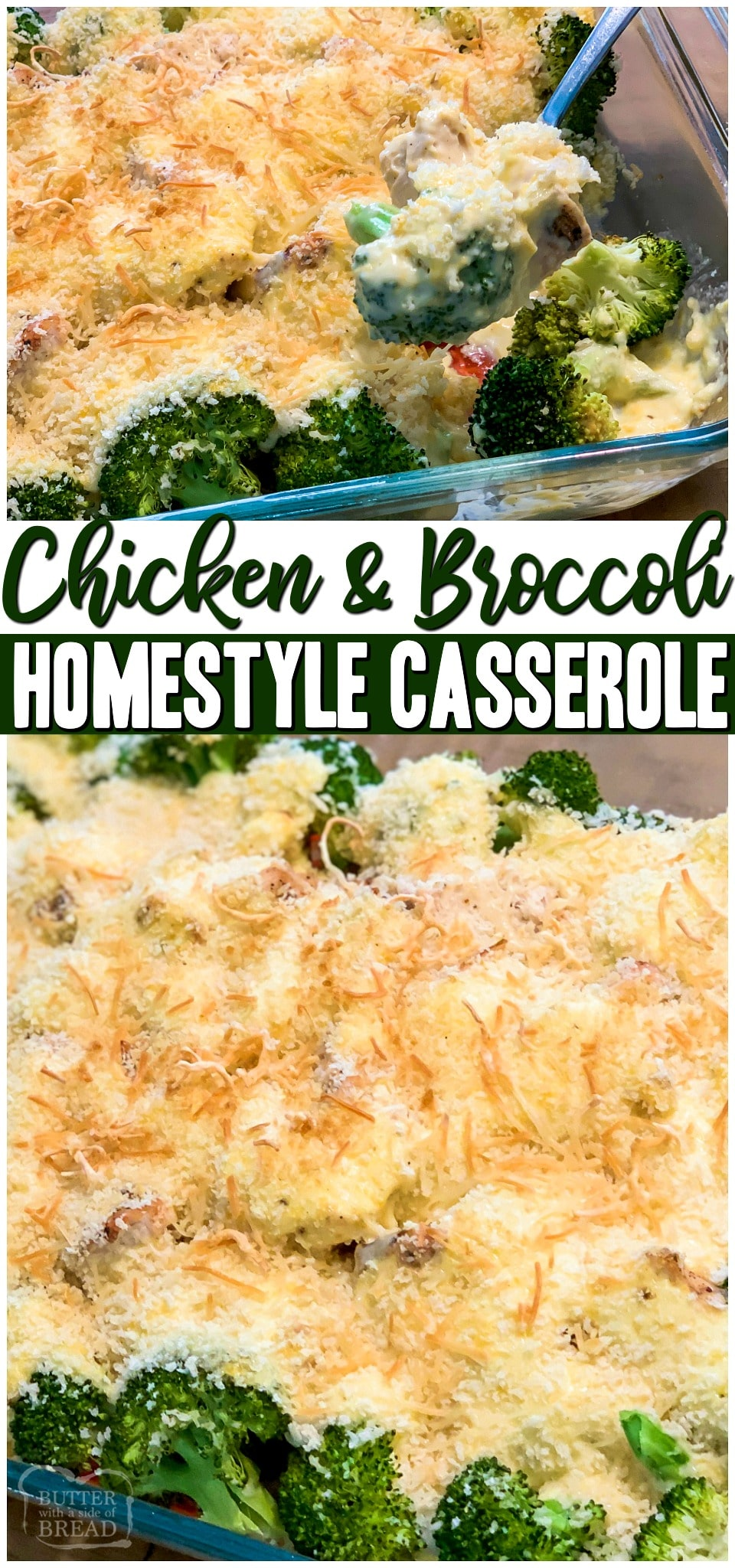 Chicken and Broccoli Casserole~ we're sharing our family recipe that's been passed down generations! Creamy cheese sauce mixed with delicious tender chicken and broccoli topped with buttery bread crumbs make it the perfect comfort food! #chicken #broccoli #casserole #easyrecipe #dinner #chickendinner from BUTTER WITH A SIDE OF BREAD