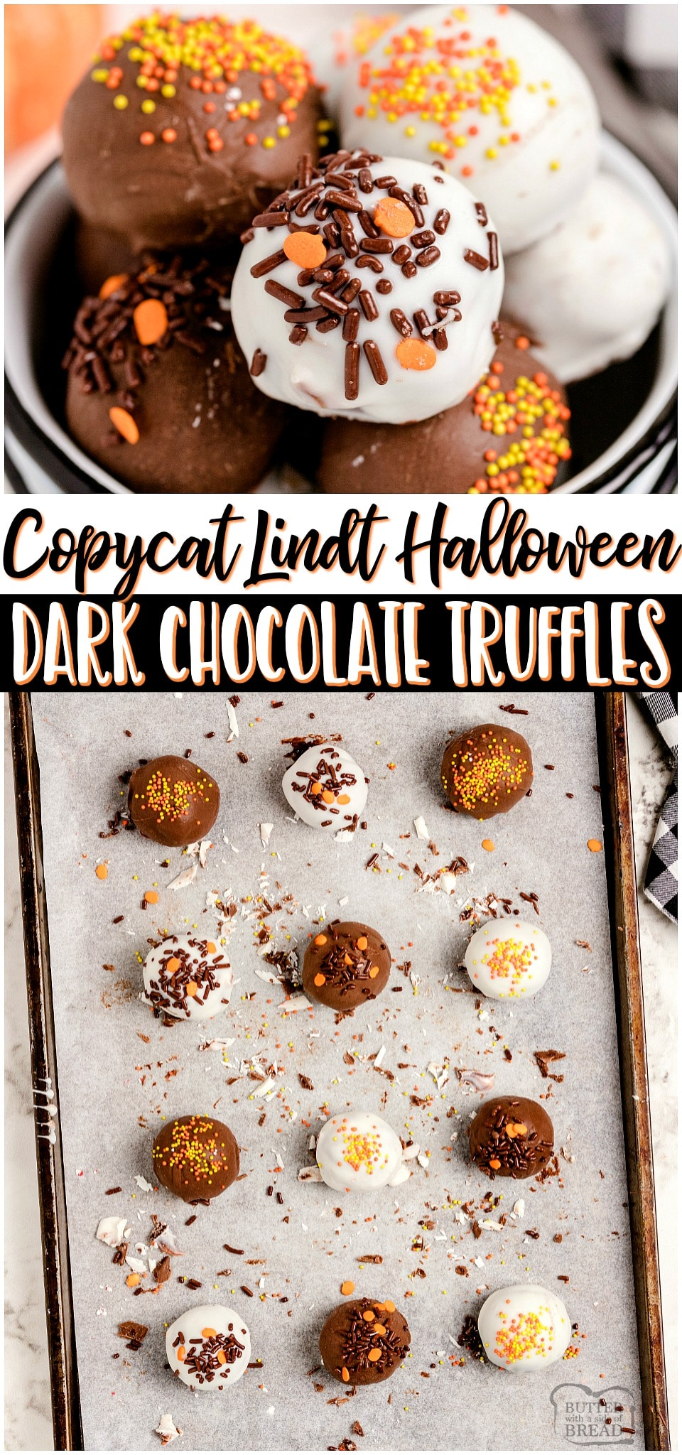 Homemade Halloween Lindt Dark Chocolate Trufflesmade with just 5 ingredients and SO amazing! Chocolate chips, heavy cream and butter combine for a rich & smooth lusciouschocolate truffle filling that rivals Lindt's! Chocolate lovers must try these festive Halloween Truffles! #Lindt #chocolate #truffles #candy #darkchocolate #Halloween #easyrecipe from BUTTER WITH A SIDE OF BREAD