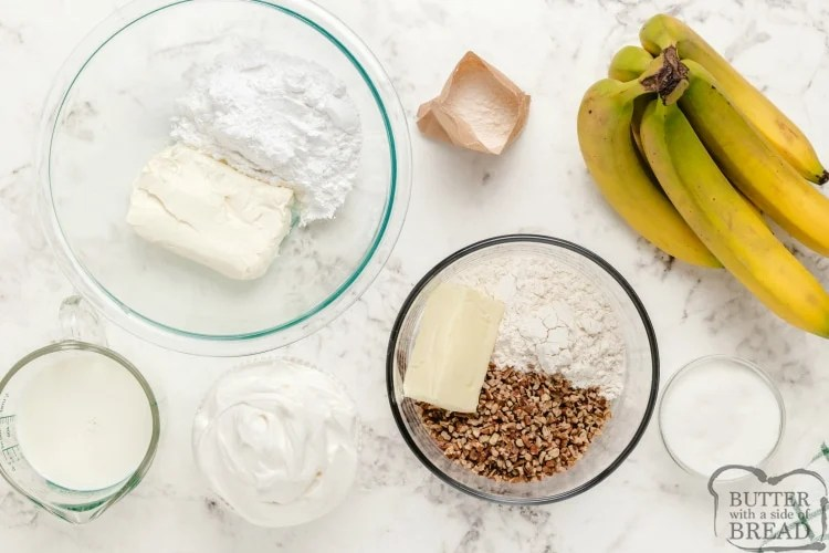 Ingredients in banana pecan pie