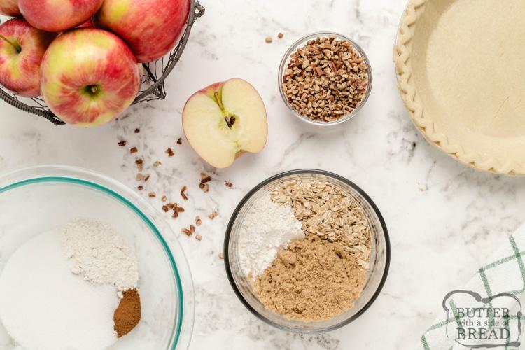 Ingredients in crunchy apple pie recipe