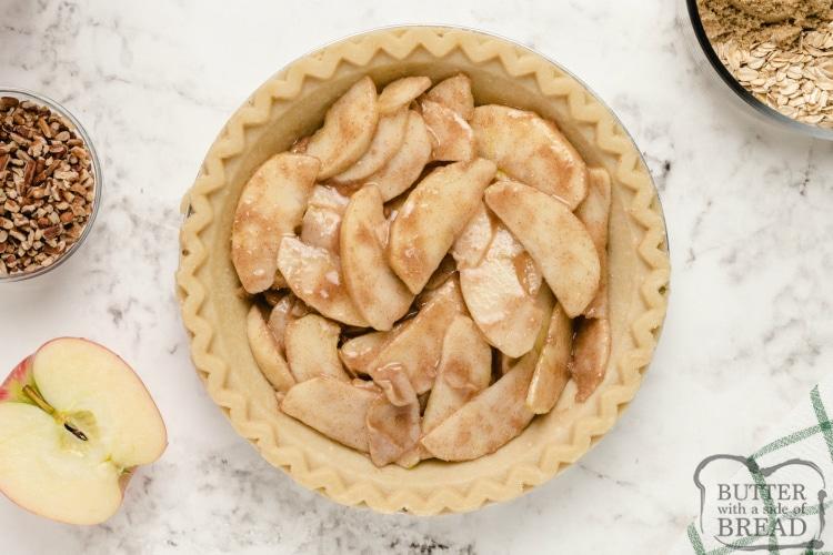 Apple filling in apple pie recipe