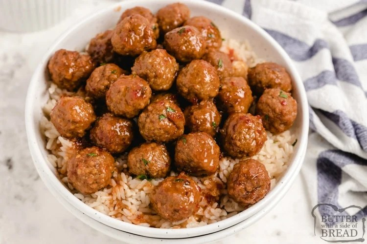 Cranberry meatball recipe made in a slow cooker and served with rice