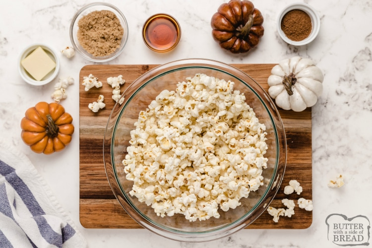 Ingredients in maple pumpkin spice popcorn recipe