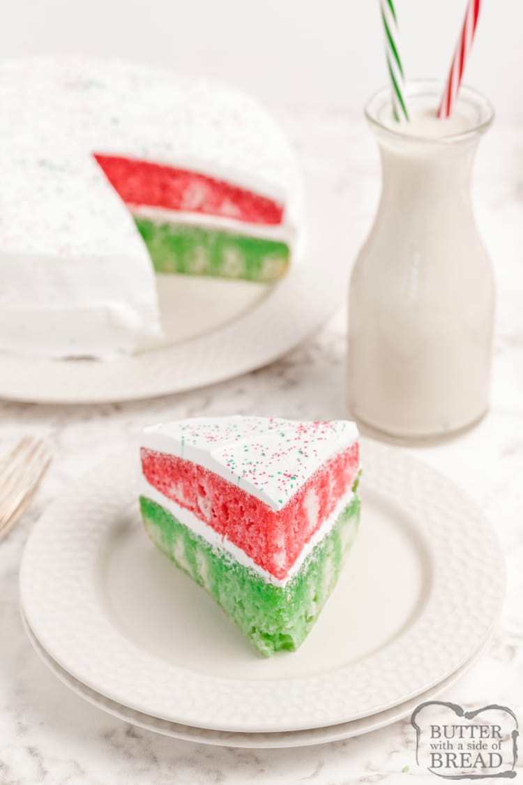 Christmas cake recipe made with a cake mix and red and green jello