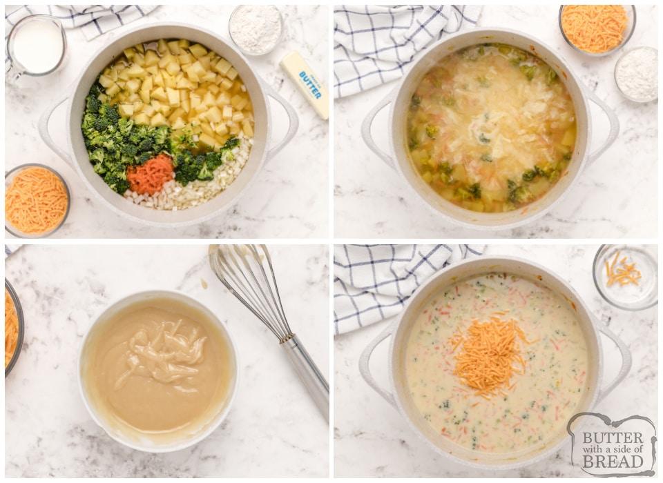 How to make cheesy broccoli potato soup