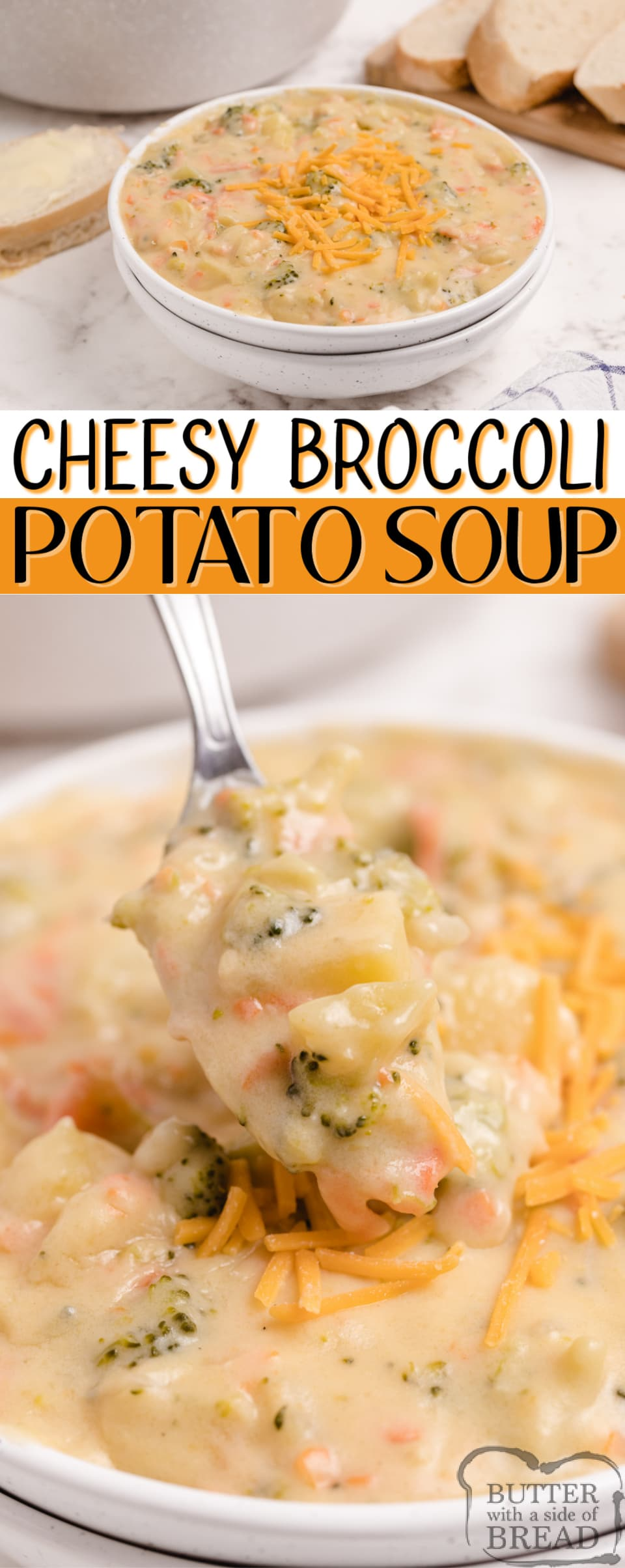 Cheesy Broccoli Potato Soup is creamy, filling and packed with veggies. Delicious potato soup recipe that is easy to prepare and makes for an easy weeknight meal the whole family will love.