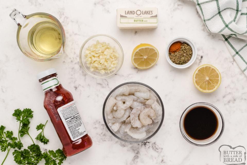 Ingredients in spicy shrimp scampi recipe