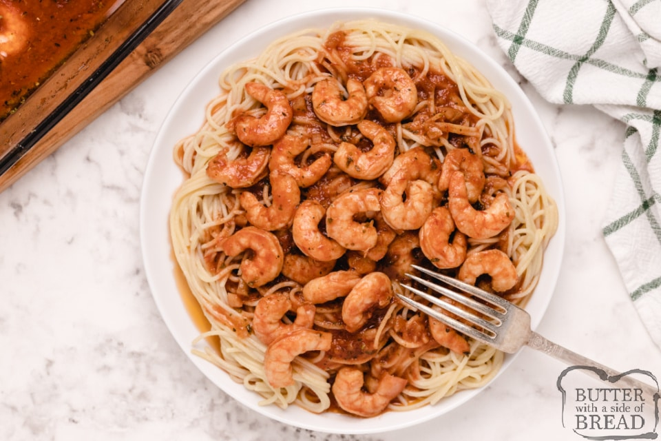 Spicy Shrimp Scampi is buttery, full of flavor and tastes delicious over angel hair pasta. This buttery scampi sauce with shrimp is simple, impressive and only takes a few minutes to prep.