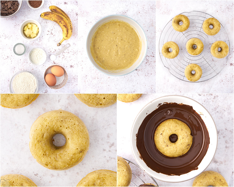 How to Make Easy Soft Baked Banana Donuts recipe