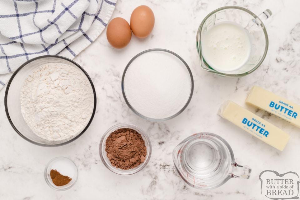 Ingredients in Texas Sheet Cake recipe