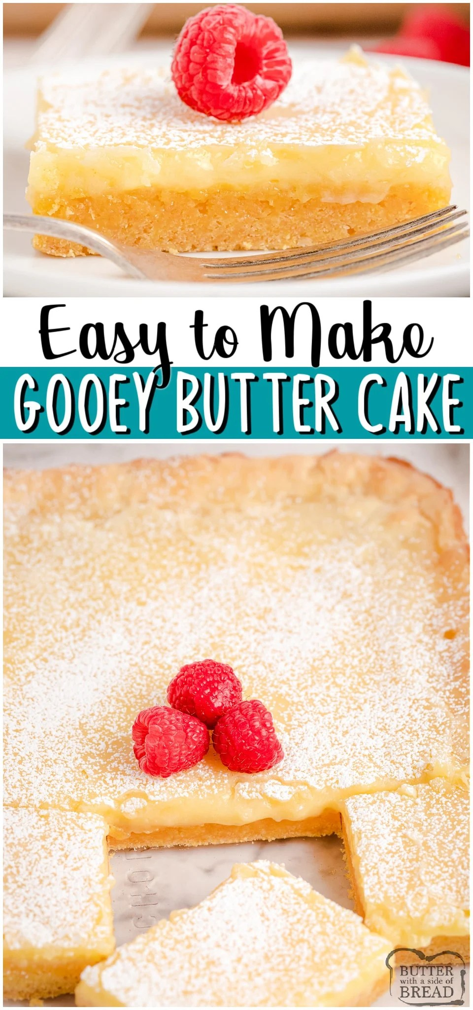 Sweet Butter Cake recipe starts with a cake mix & is made with just a handful of ingredients! Simple cake that needs no frosting- I top mine with a dusting of powdered sugar & berries. Perfect cake recipe that everyone loves!  #chesscake #buttercake #butter #cake #cakemix #easyrecipe from BUTTER WITH  A SIDE OF BREAD