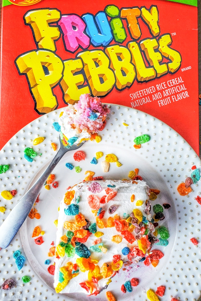 Poke cake recipe with Fruity Pebbles cereal
