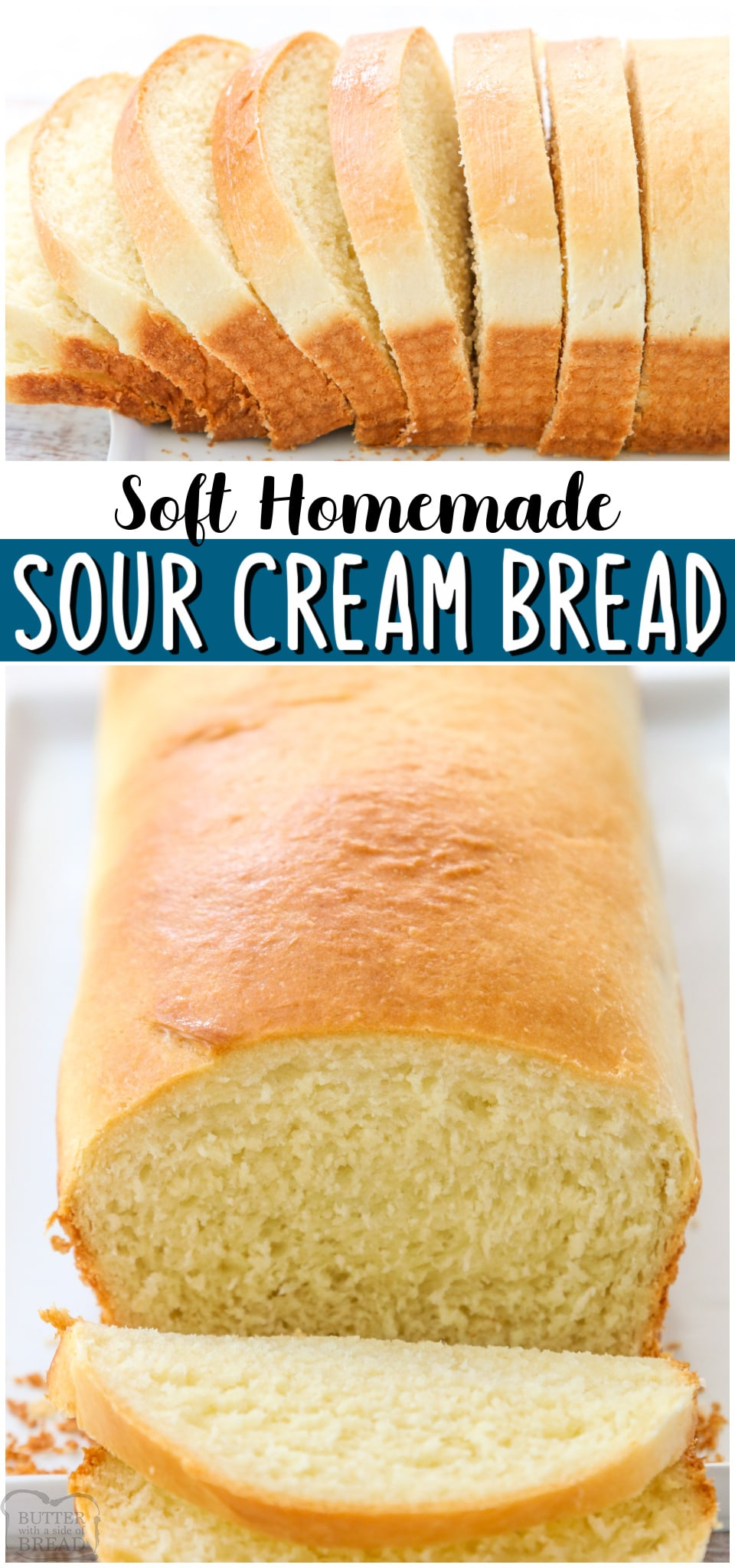 Sour Cream Bread made with flour, yeast, oil and egg, and sour cream of course! Soft, chewy white bread recipe with great flavor and delicious texture, perfect with butter & jam! #bread #homemade #sourcream #baking #whitebread #easyrecipe from BUTTER WITH A SIDE OF BREAD