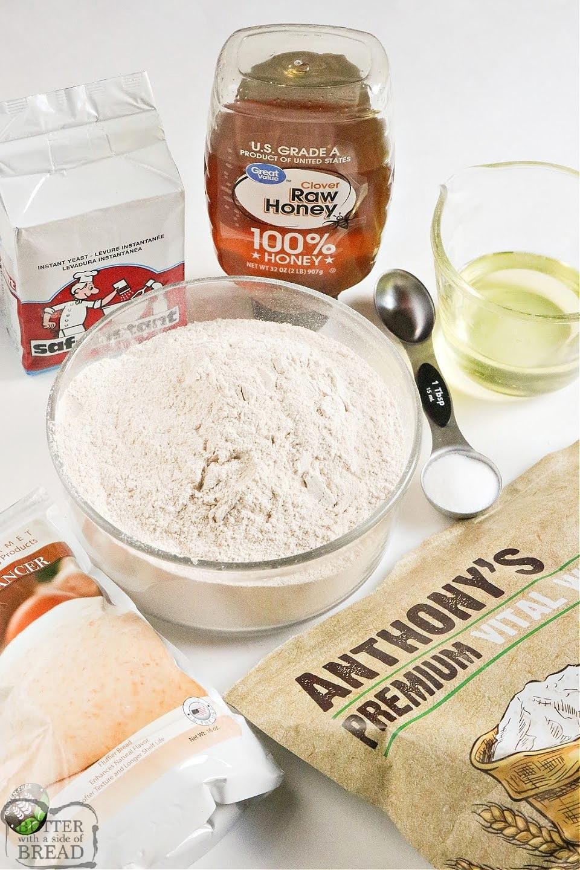 Ingredients in homemade honey wheat bread