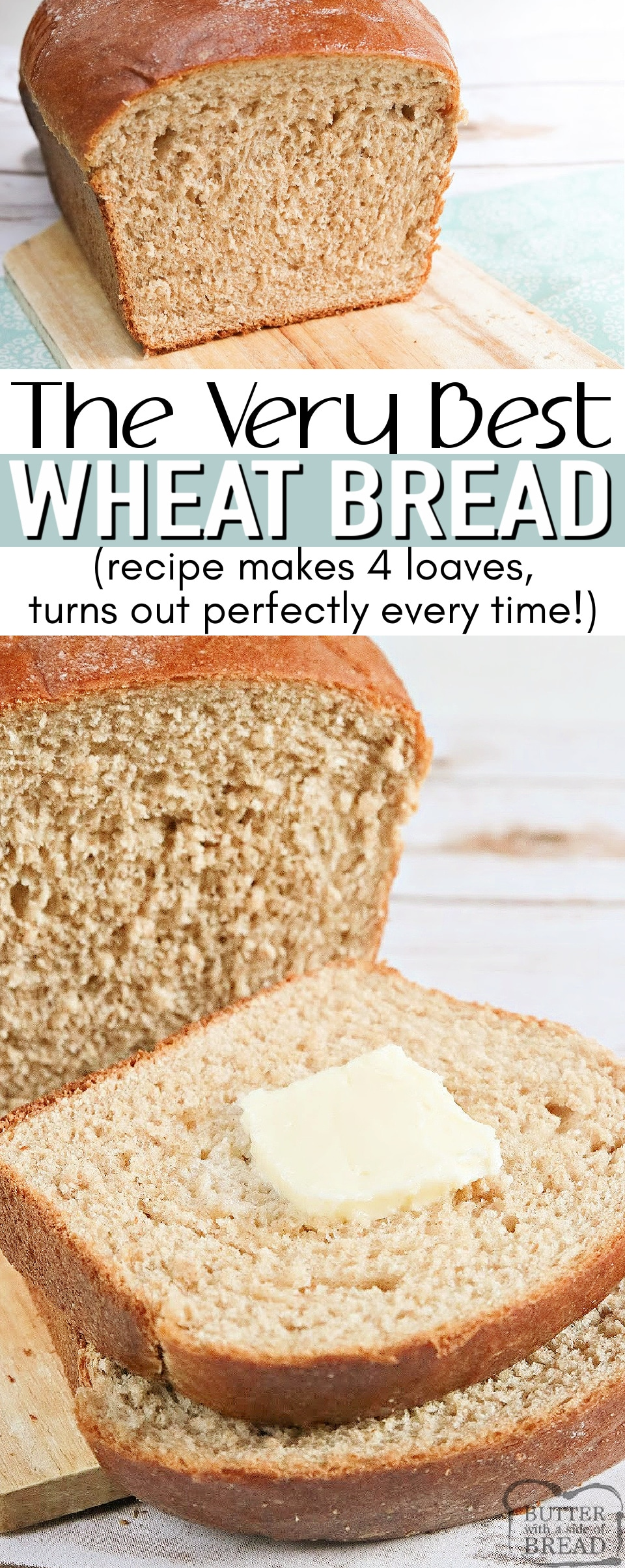 Large Batch Wheat Bread recipe that makes 4 loaves of perfectwheat bread every single time. I love homemade bread and this recipe is the most foolproof (and delicious) wheat bread recipe that I've ever tried.