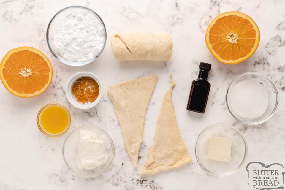 Ingredients in orange breakfast crescents