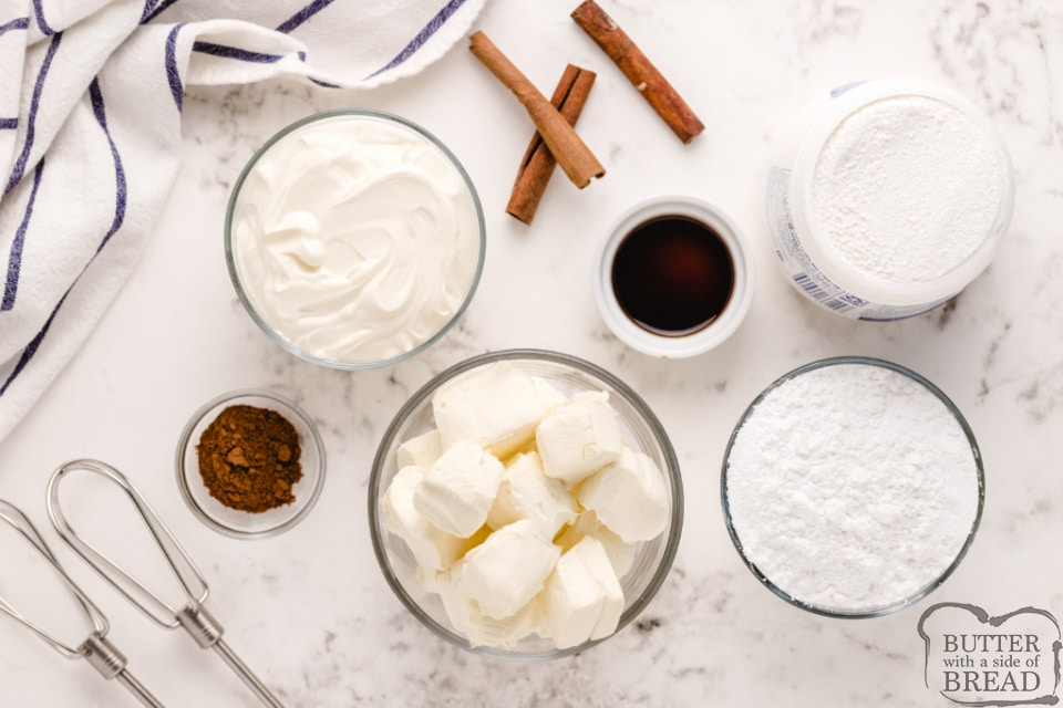 Ingredients in cream cheese fruit dip