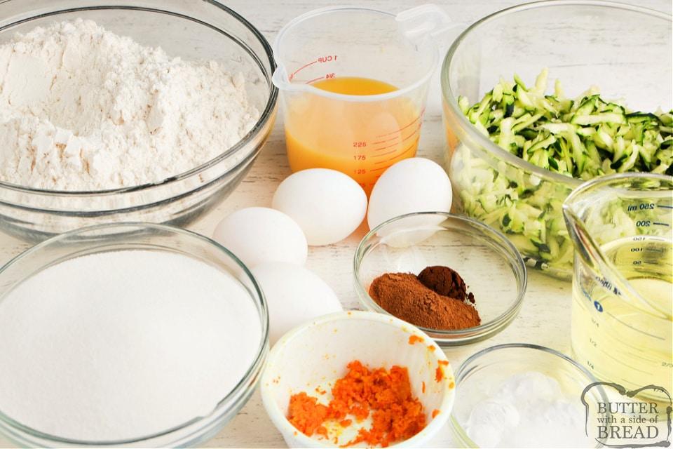 Ingredients in Orange Zucchini Bread