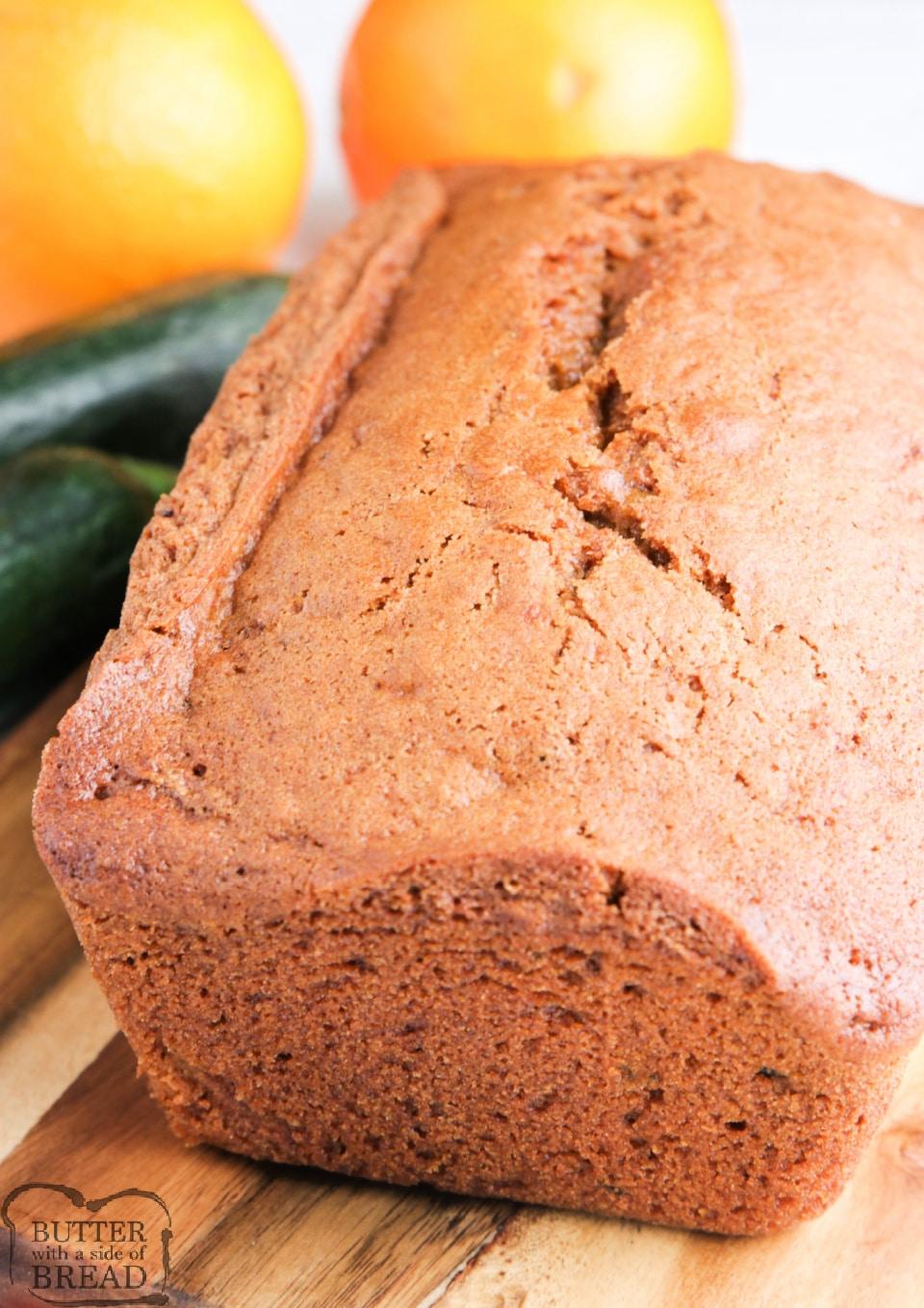 Loaf of orange zucchini bread