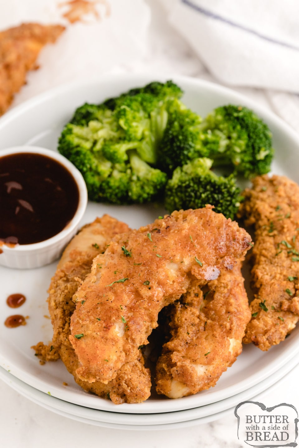 Chicken strips that are baked in the oven