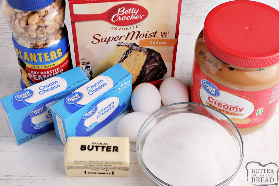 Ingredients in peanut butter cheesecake bars