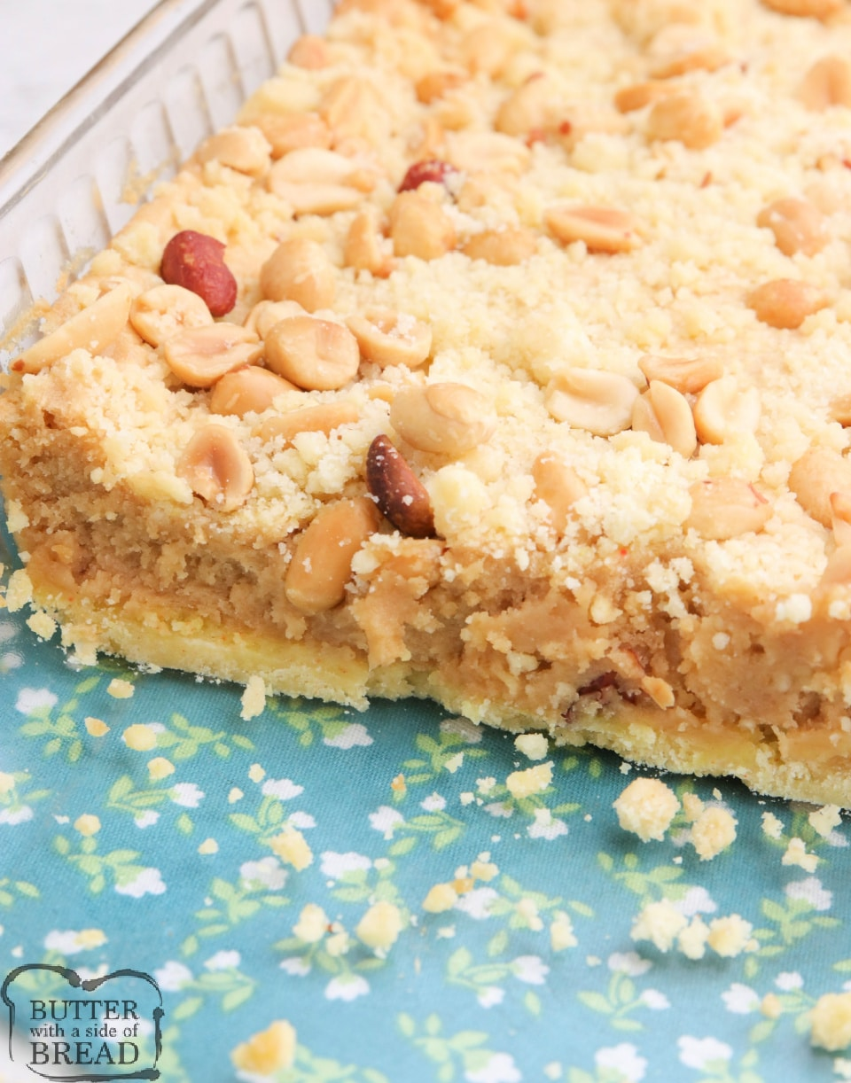 Peanut Butter Cheesecake Bars begin with a cake mix for a simple peanut butter dessert that is decadent and delicious! Simple cheesecake recipe made with peanut butter, peanuts and a few other basic ingredients.