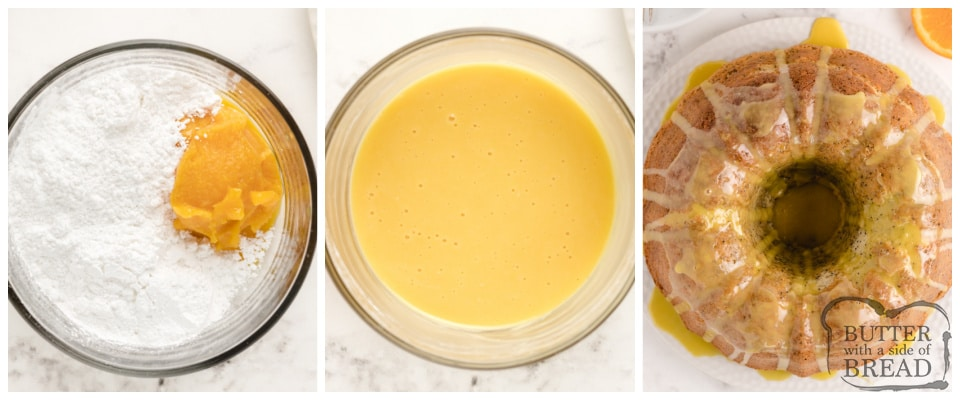 How to make orange glaze for Poppy Seed Bundt Cake