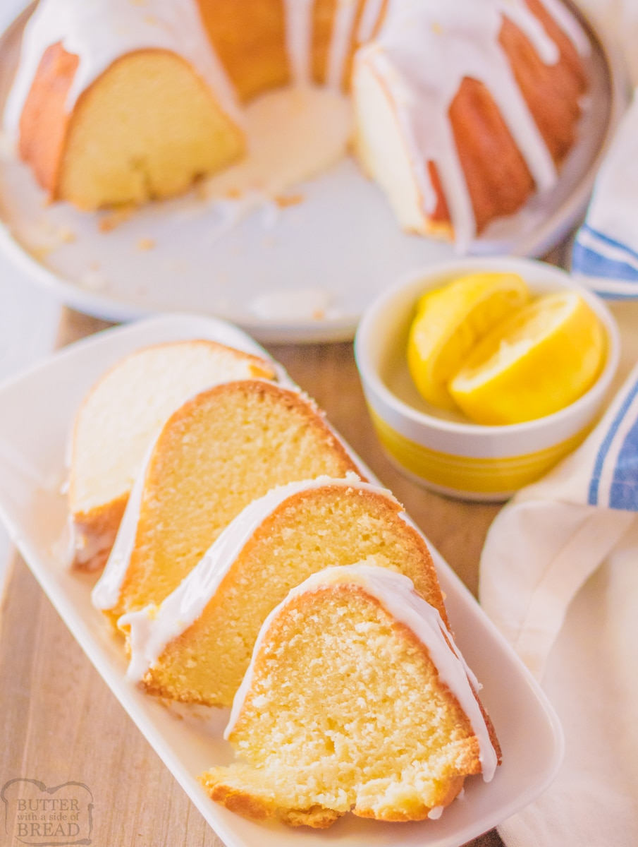 7-Up Pound Cake cut with slices on a plate