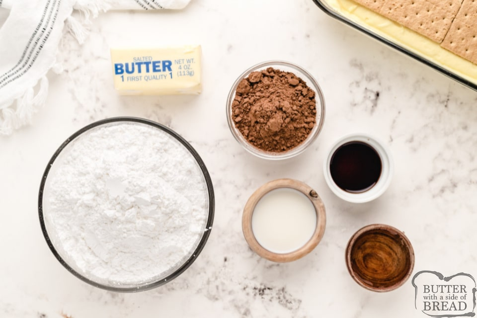 Ingredients in homemade chocolate frosting for no bake eclair dessert