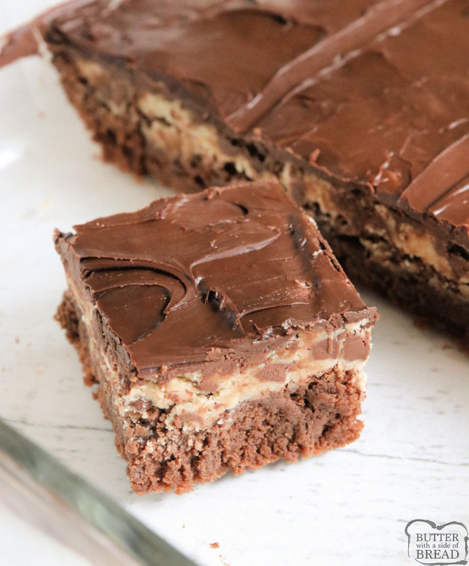 Chocolate Chip Cookie Dough Brownies made with layers of fudgy, chewy homemade brownies, chocolate chip cookie dough and then more chocolate on top! Decadent dessert recipe that everyone loves!