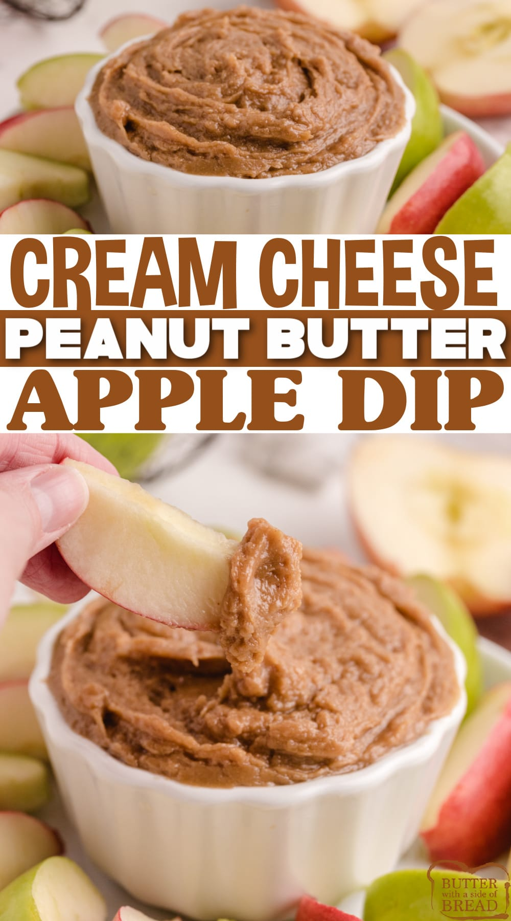 Peanut Butter Apple Dip is made with 5 simple ingredients and is perfect for a snack. Made with cream cheese, peanut butter, and brown sugar in less than 3 minutes!