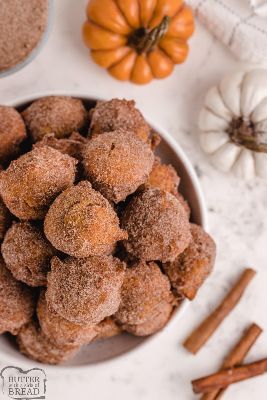 Pumpkin Donut Holes coated in cinnamon and sugar