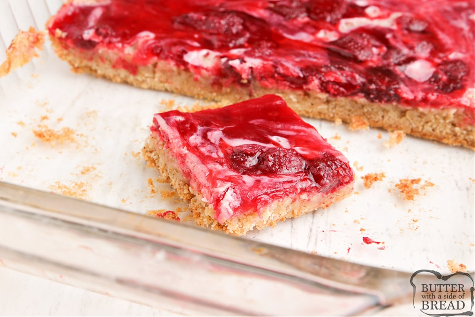 Banana bars with strawberry pie filing on top