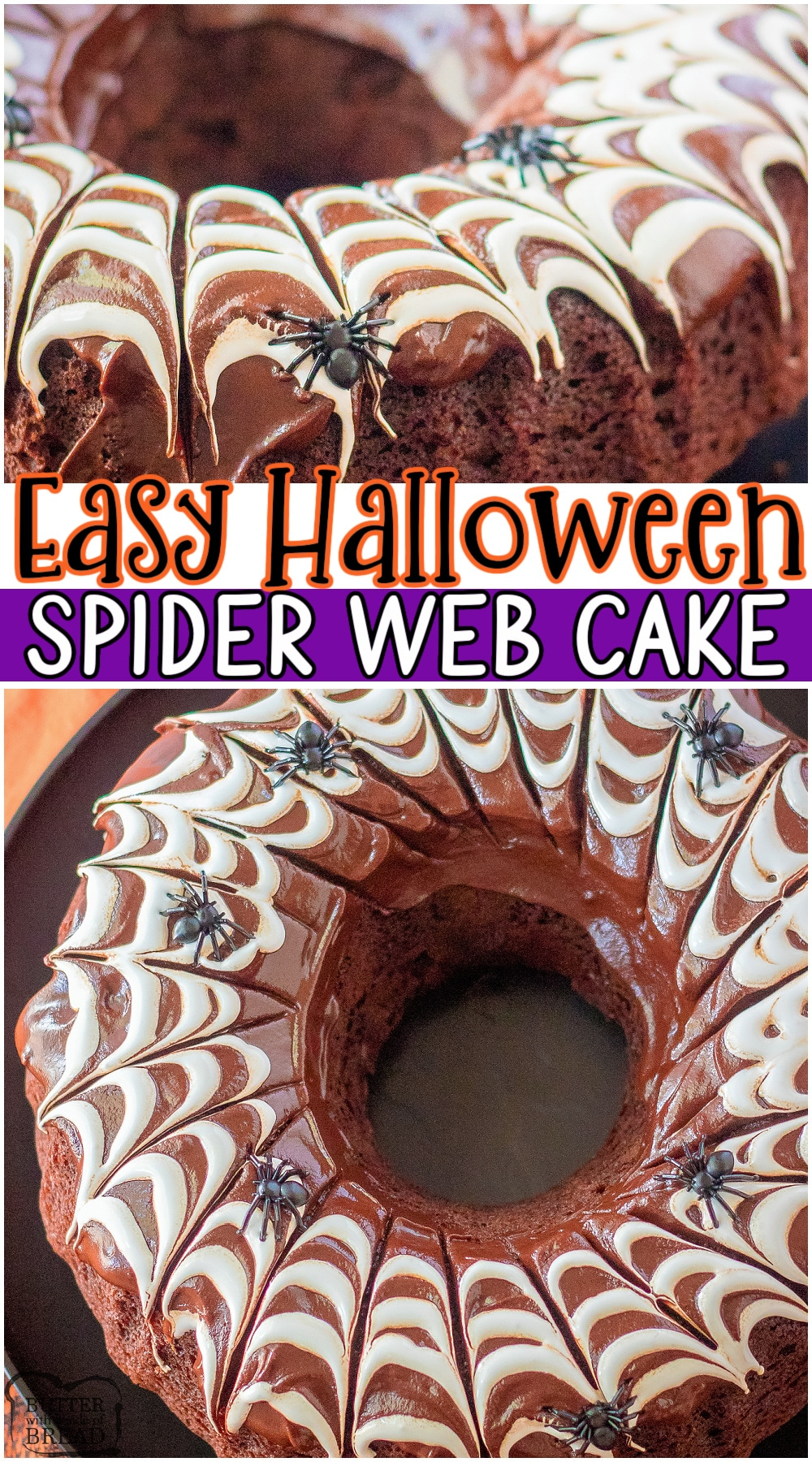 Spider web cake is the perfect Halloween treat! Homemade chocolate cake covered in a rich chocolate ganache with marshmallow fluff cobwebs that are so simple to make! Fun & festive, slightly creepy cake that everyone loves. #cake #spiderweb #Halloween #chocolate #easyrecipe from BUTTER WITH A SIDE OF BREAD