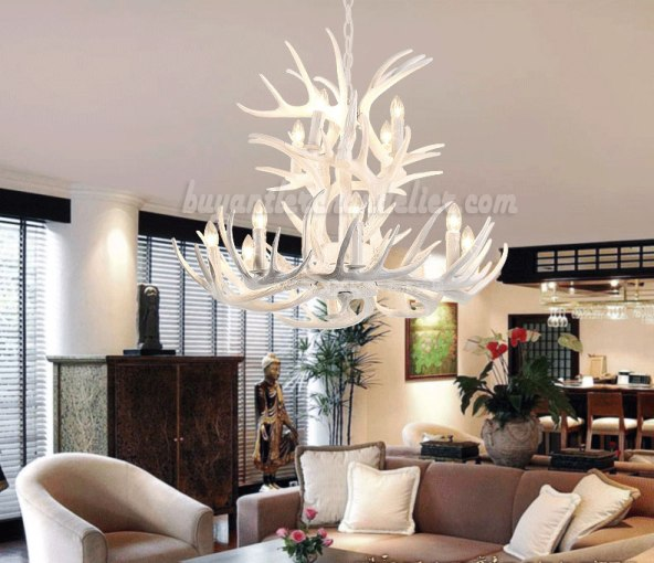 12 Cast Deer Antler Chandelier Pure White Ceiling Lights     Best 12 Cast Deer Antler Chandelier Pure White Ceiling Lights 8   4  Candle Style