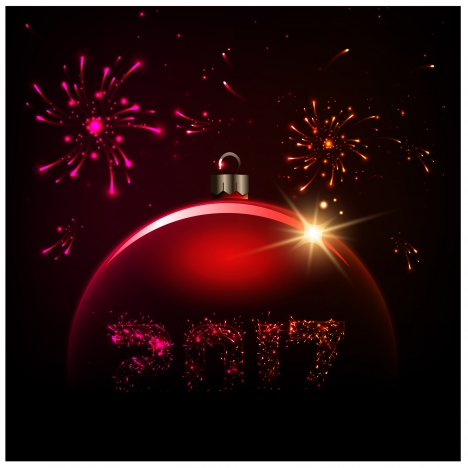 2017 new year template with fireworks design vectors stock in format     2017 card template illustration with fireworks and bauble