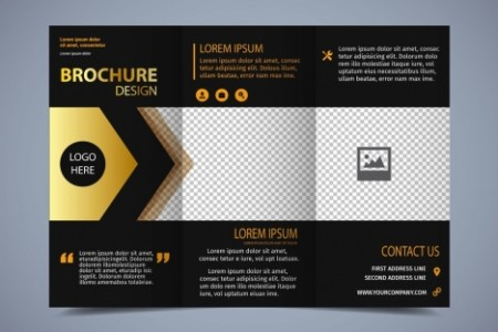 Brochure template modern trifold design dark background vectors     brochure template modern trifold design dark background