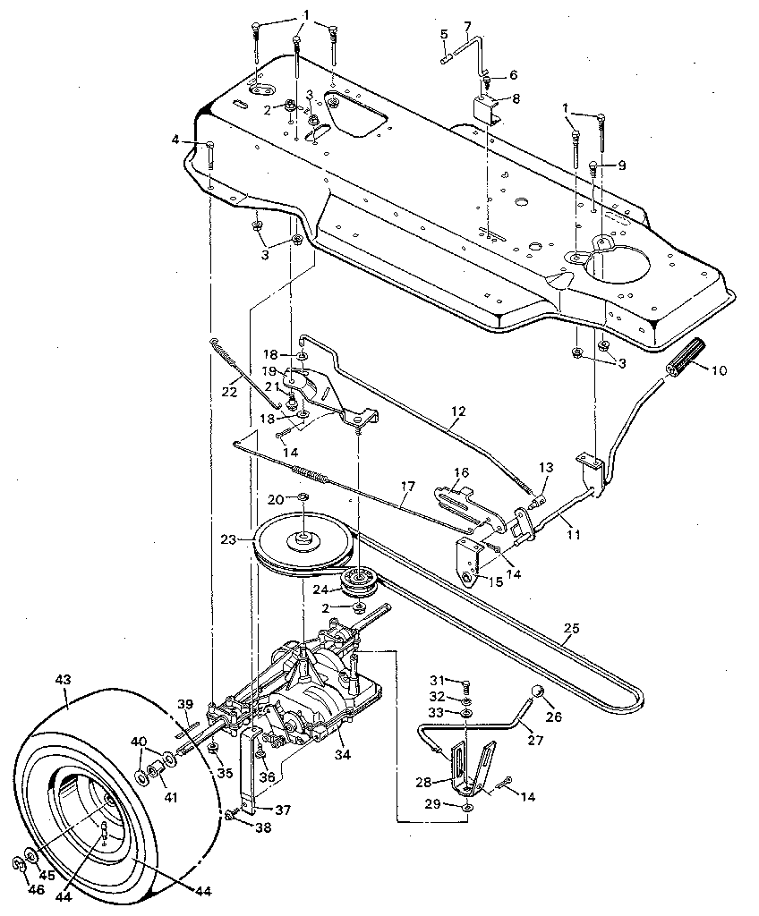 Murray lawn tractor parts model 9 38600 sears partsdirect rh searspartsdirect murray drive belt installation murray motion belt replacement diagram