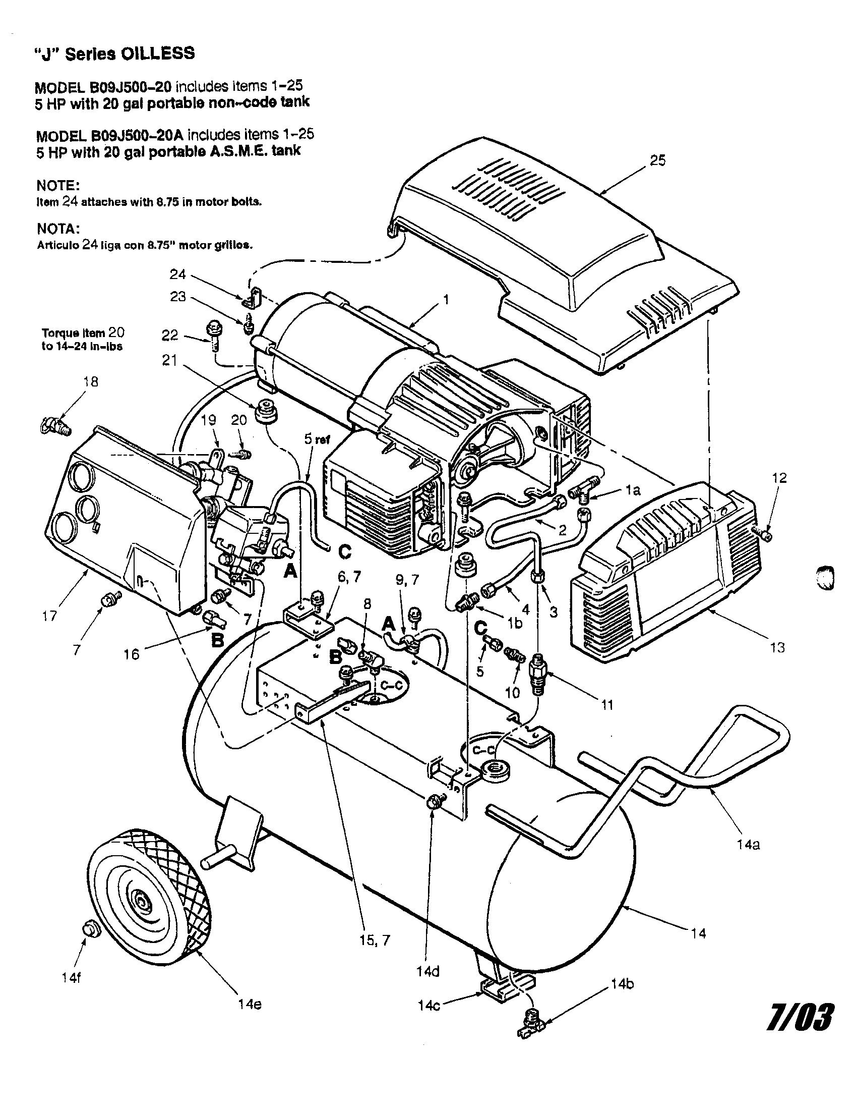 Coleman model b09j500 20 air pressor genuine parts rh searspartsdirect craftsman air pressor wiring diagram