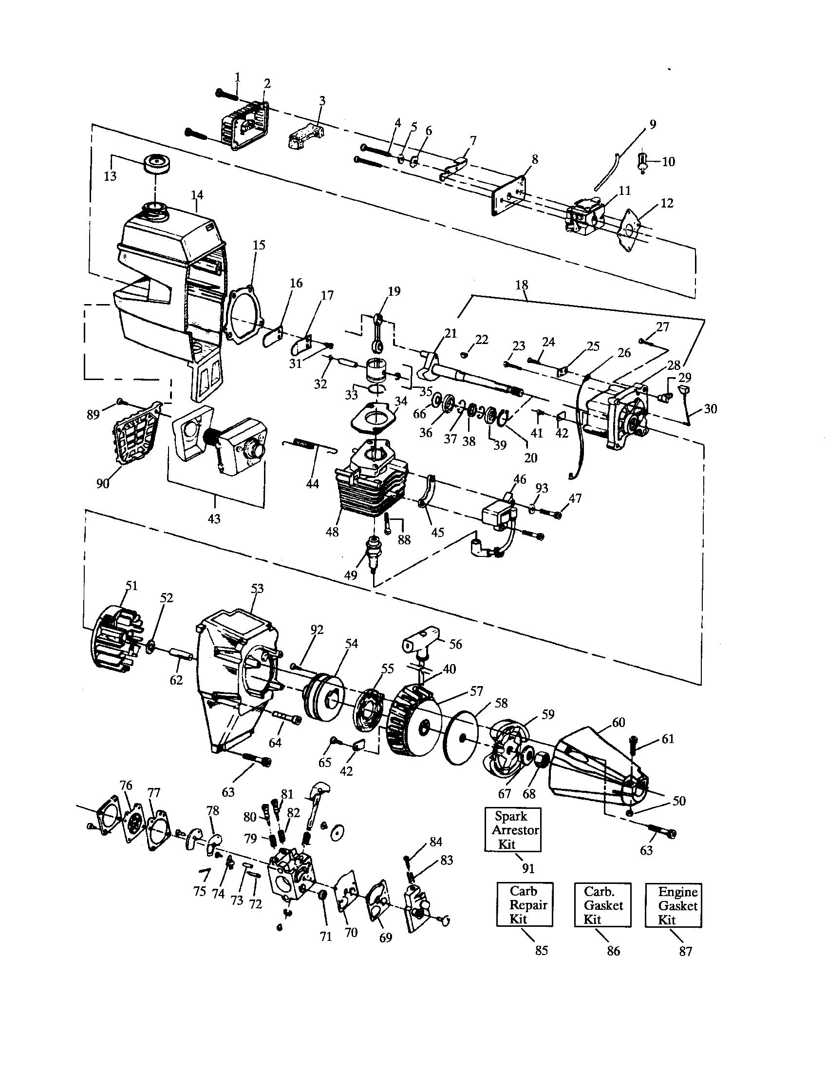 Craftsman model 358797121 line trimmers weedwackers gas genuine parts rh searspartsdirect craftsman chainsaw carburetor fuel line diagram craftsman 36cc