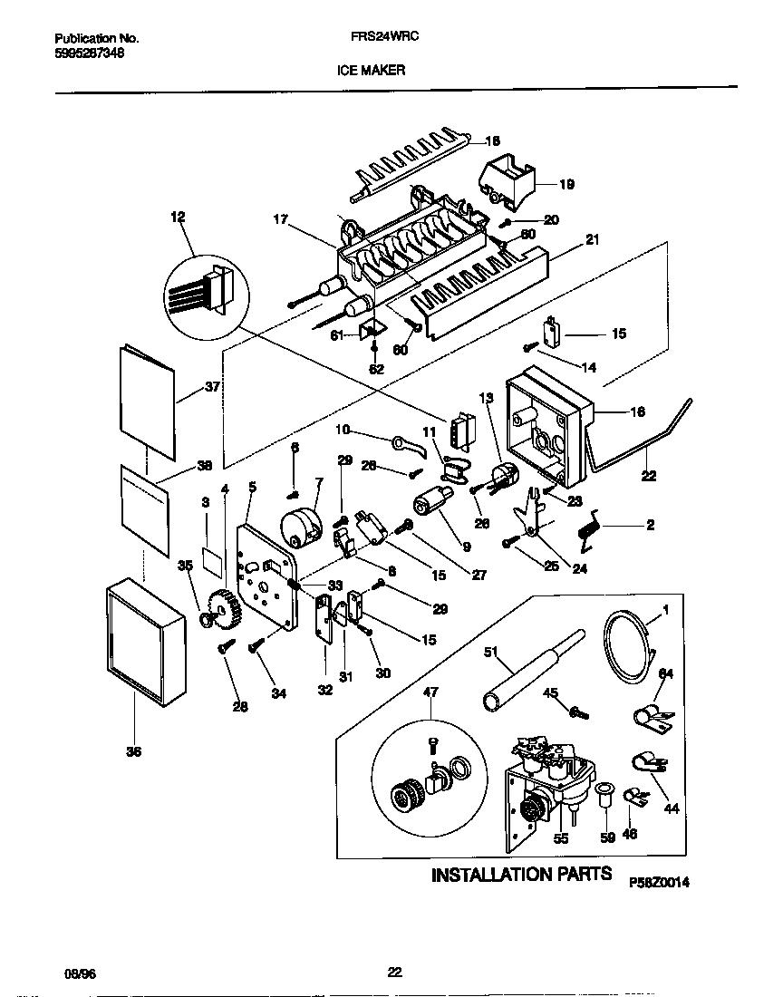 Frigidaire model frs24wrcw3 side by side refrigerator genuine parts